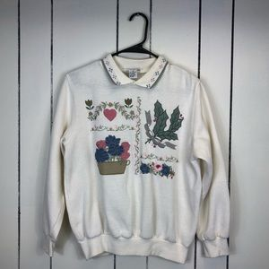 Vintage Embroidered Collared Sweater Sz PS